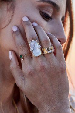 Kaia adjustable thin gemstone ring labradorite wish paris jewellery