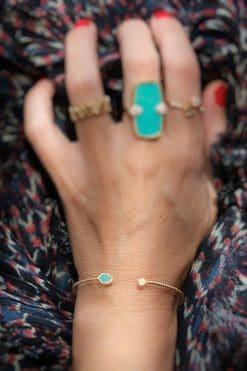 bali gemstone cuff turquoise wish paris jewellery