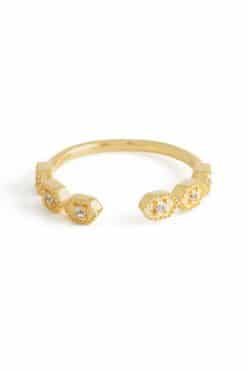 tara adjustable gemstone ring white zircons wish paris jewellery