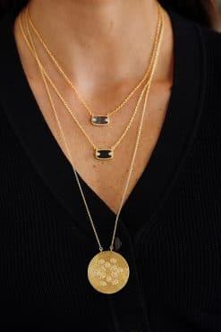 tara long gemstone necklace white zircons wish paris jewellery
