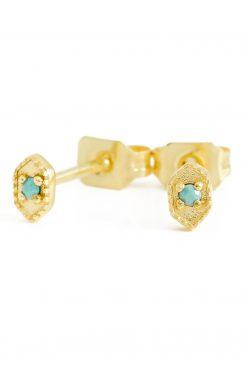 tara gemstone stud earrings turquoise wish paris jewellery