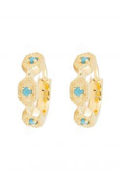 tara gemstone mini hoop earrings turquoise wish paris jewellery