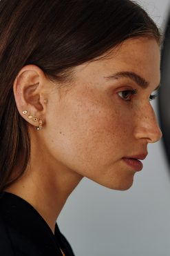 tara gemstone mini hoop earrings white zircons wish paris jewellery