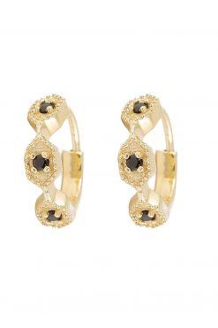 tara gemstone mini hoop earrings black onyx wish paris jewellery