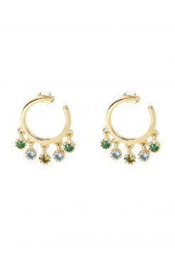 mahdi gemstone mini hoop earrings aventurine blue chalcedony and prehnite wish paris jewellery