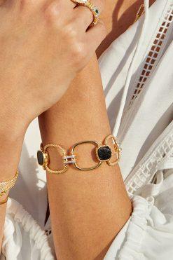 kaia maxi gemstone bracelet black onyx wish paris jewellery