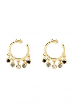 mahdi gemstone mini hoop earrings black onyx labradorite and moonstone wish paris jewellery