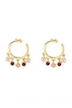 mahdi gemstone mini hoop earrings rose quartz garnet and pink opal wish paris jewellery