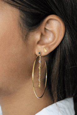 mahdi gemstone hoop earrings aventurine blue chalcedony and prehnite