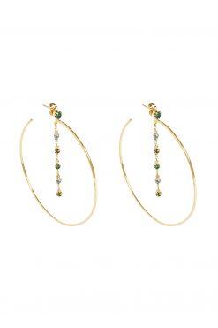 mahdi gemstone hoop earrings aventurine blue chalcedony and prehnite wish paris jewellery
