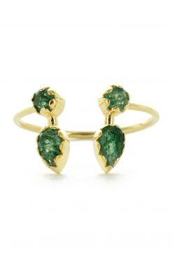 safra adjustable gemstone ring aventurine wish paris jewellery