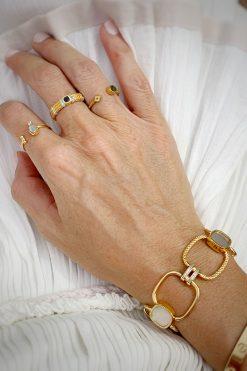 kaia maxi gemstone bracelet mother of pearl wish paris jewellery