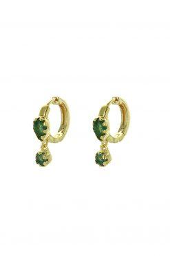 safra gemstone mini hoop earrings aventurine wish paris jewellery