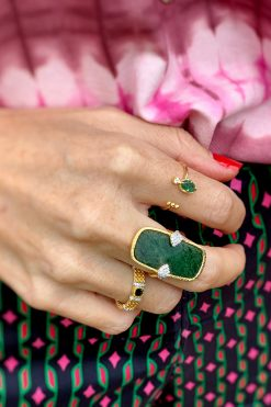 mani adjustable gemstone ring aventurine wish paris jewellery