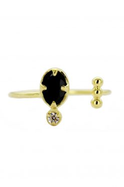 mani adjustable gemstone ring black onyx wish paris jewellery