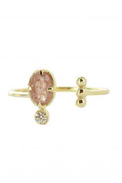 mani adjustable gemstone ring strawberry quartz wish paris jewellery