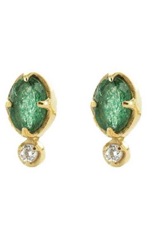 mani gemstone stud earrings aventurine wish paris jewellery