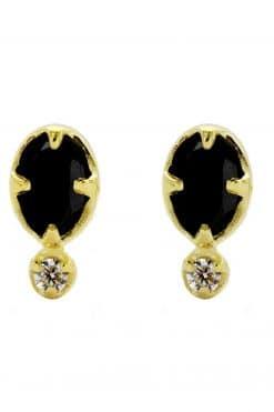 mani gemstone stud earrings black onyx wish paris jewellery