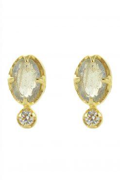 mani gemstone stud earrings labradorite wish paris jewellery