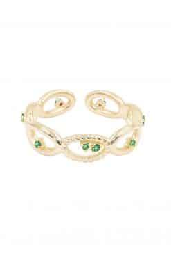 koyah adjustable ring green zircons wish paris jewellery