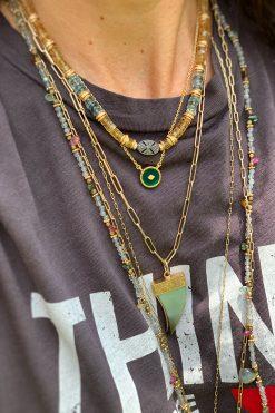 doris bead necklace citrine moss aquamarine zircons black silver and diamonds wish paris jewellery