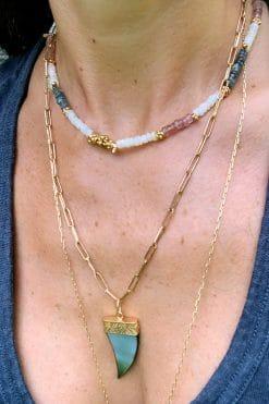 stone choker bead necklace white opal strawberry quartz and labradorite wish paris jewellery