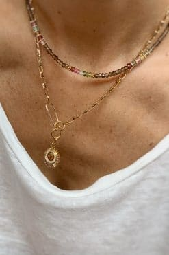 ruthy bead necklace smoky quartz and tourmaline wish paris jewellery