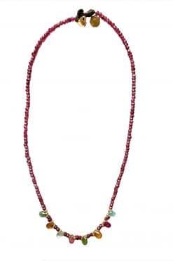 deva bead necklace garnet and tourmaline wish paris jewellery