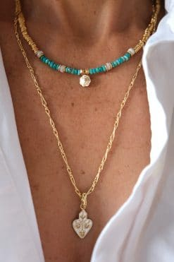 ray bead necklace turquoise and white opal wish paris jewellery