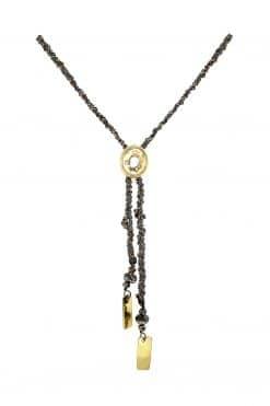necklace oval medallion ruthenium gold mls 701 ruthenium lurex gold wish paris jewellery
