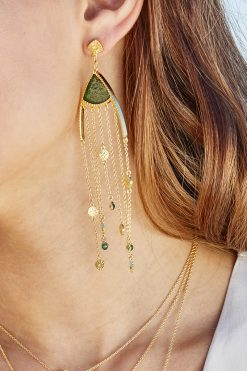 Mina maxi pendant earrings aventurine wish paris jewellery