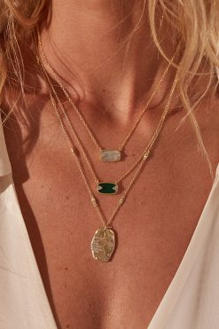 sitara medium lenght pendant gemstone necklace white zircons wish paris jewellery