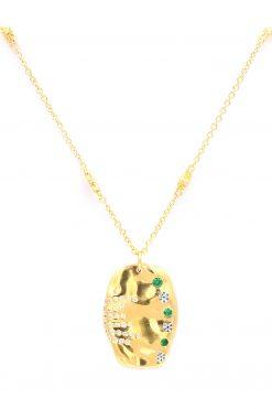 sitara medium lenght pendant gemstone necklace green zircons wish paris jewellery