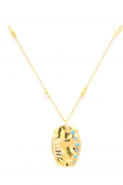 sitara medium lenght pendant gemstone necklace turquoise wish paris jewellery