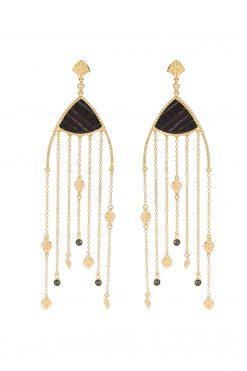 Mina maxi pendant earrings black onyx wish paris jewellery