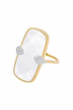 sangha maxi gemstone ring mother of pearl wish paris jewellery