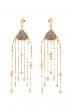 Mina maxi pendant earrings labradorite wish paris jewellery
