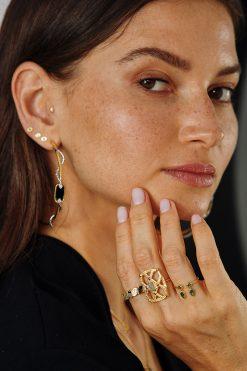 sangha maxi hoop gemstone earrings black onyx wish paris jewellery
