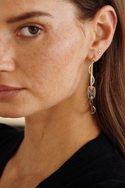 sangha maxi hoop gemstone earrings labradorite wish paris jewellery