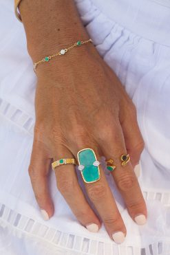 Kaia adjustable thin gemstone ring turquoise wish paris jewellery