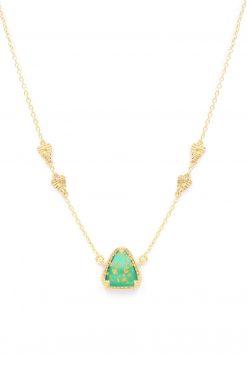 macha gemstone necklace green onyx gold foil wish paris jewellery