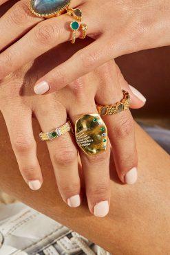 Kaia adjustable thin gemstone ring aventurine wish paris jewellery