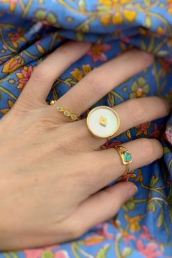 sanja gemstone maxi ring mother of pearl wish paris jewellery