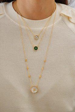 sanja gemstone sautoir necklace mother of pearl wish paris jewellery
