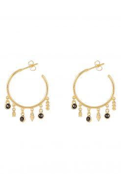 nati gemstone hoop earrings black onyx wish paris jewellery