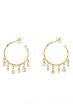 nati gemstone hoop earrings white zircons wish paris jewellery