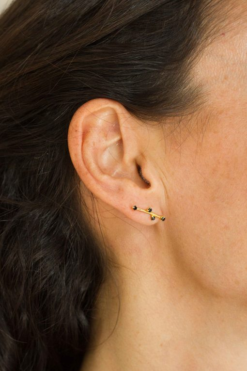 delia gemstone stud earrings black onyx wish paris jewellery