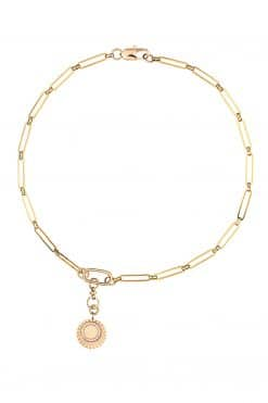 heloise necklace chain with pendant medal or sun with white zircon