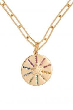 286 emma rainbow zircons pendant medal necklace solid gold wish paris jewellery 1