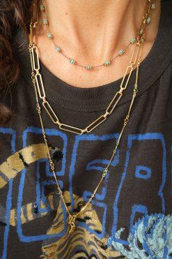 lotus necklace choker beige turquoise tityaravy wish paris jewellery